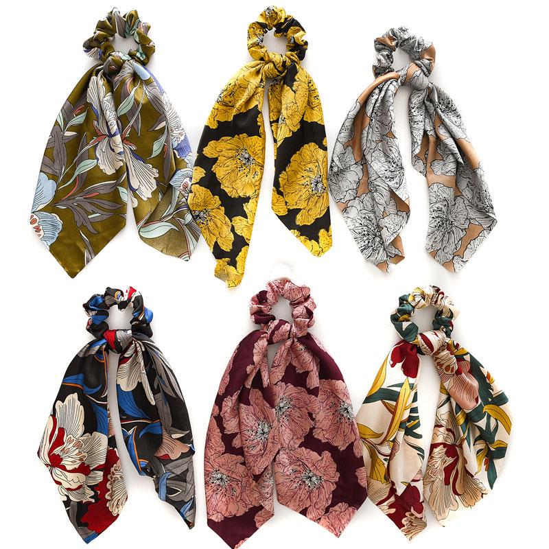 Flor do vintage/ponto scrunchies feminino cetim lenço de cabelo elástico laços de cabelo arco banda de borracha boêmio meninas moda acessórios de cabelo