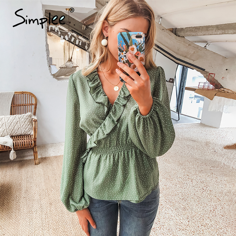 Simplee Vintage Ruffles V Neck Women Blouse Shirt Long Sleeve Polka Dot Female Green Tops Elegant Holiday Party Ladies Blouses