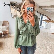 Simplee Vintage volants col en V femmes blouse chemise à manches longues à pois femme vert hauts élégant fête de vacances dames blouses