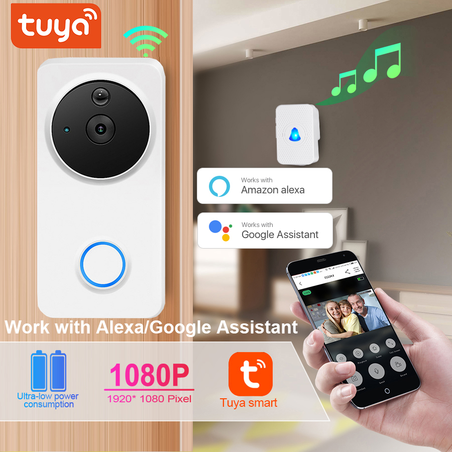 Tuya 1080P Wifi Video Doorbell Alexa Google Home IP54 Waterproof Outdoor Wireless  Smart Video Doorbell Intercom Camera WiFi