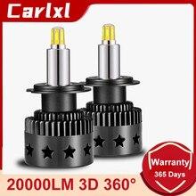 Carlxl H1 LED H7 LED H8 H9 H11 9005 HB3 9006 HB4 9012 80W 20000LM High Power Car Headlight Fog Lamp 360 Degree Auto Bulb 6000K