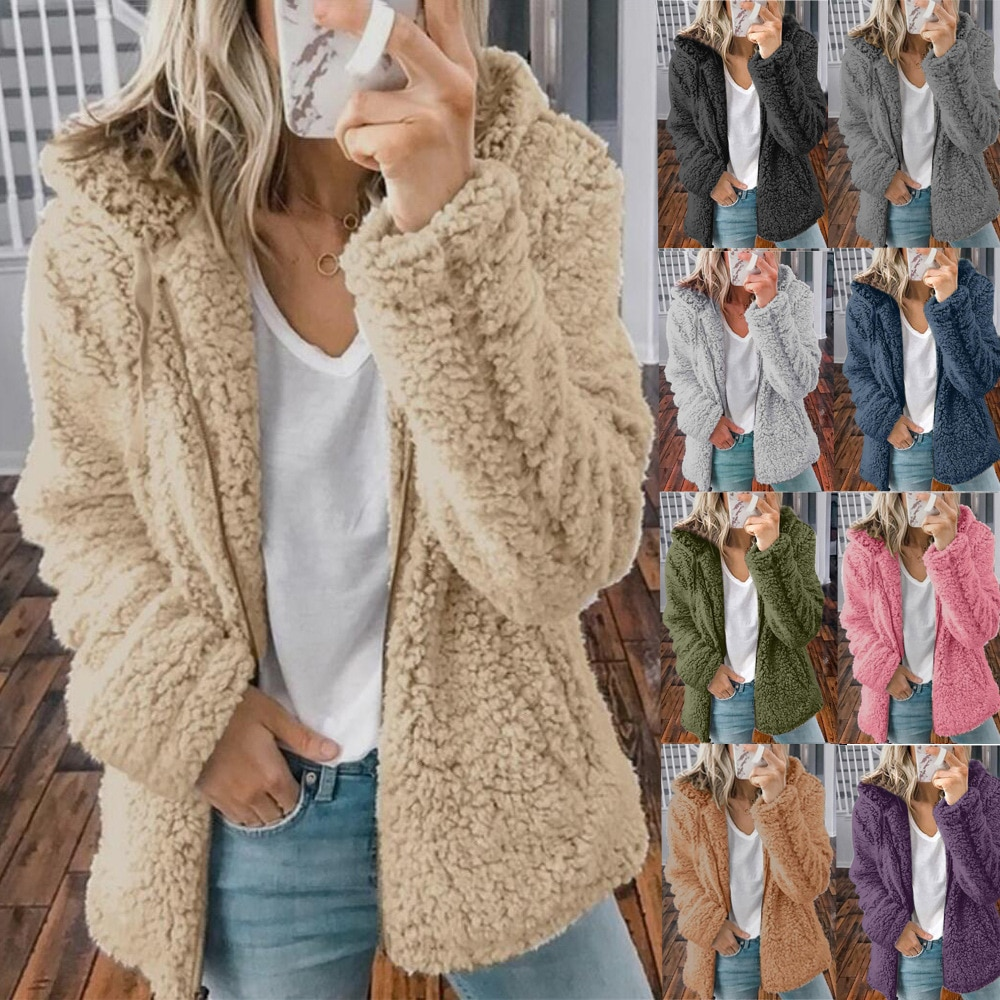 Hoodie feminino outono inverno casaco feminino causal macio com capuz velo de pelúcia quente plus size pele do falso macio zíper superior sudadera