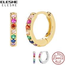 ELESHE 925 Sterling Silber Huggie Hoop Ohrringe für Frauen mit 18K Gold Überzogen Zirkonia Regenbogen Ohrringe Erklärung Schmuck