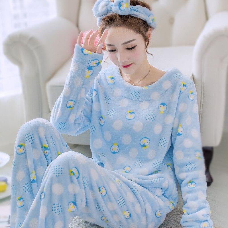 Coral Fleece 2PCS Pajamas Set Women Casual Shirt&Pants Sleep Suit Home Clothes Winter Flannel Sleepwear Pijamas Nightgown