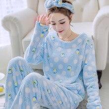 Coral Fleece 2PCS Pajamas Set Women Casual Shirt&Pants Sleep