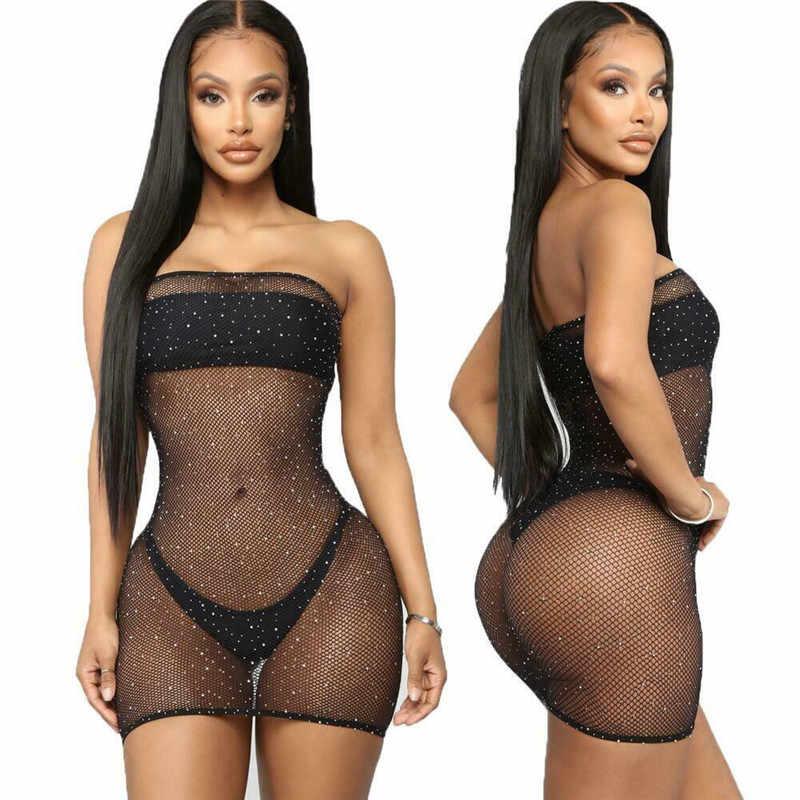 Vrouwen Sexy Mesh Sheer Visnet Zien Door Bikini Cover Ups Crystal Gehaakte Strapless Off Shoulder Bodycon Jurk Bikini Cover Up