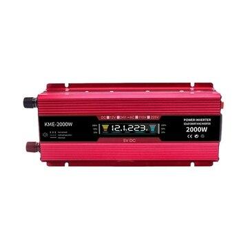 2000W Inverter with Display LCD Car Inverter Power 12V to 220V Red High Power Inverter