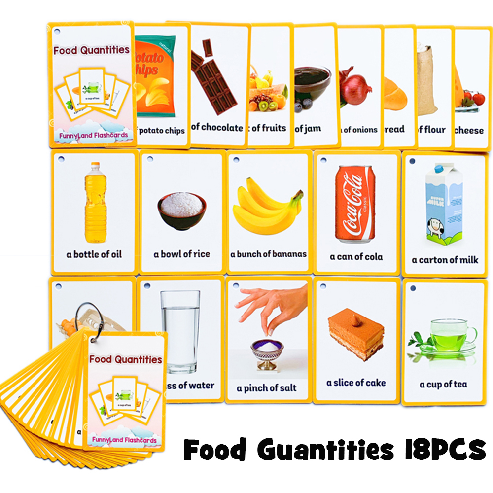 Fruits Food Quantities Kids Learn English Word Card English Children Learning Card Early Education Learning Word Cards Learning