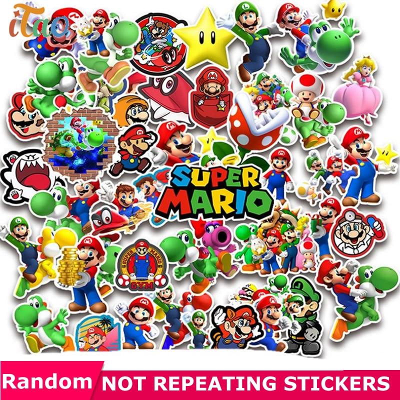 10/20/30/40/50PCS Cartoon Super Mario Stickers Waterproof PVC Laptop Motorcycle Snowboard Luggage Skateboard Sticker Kids Toys