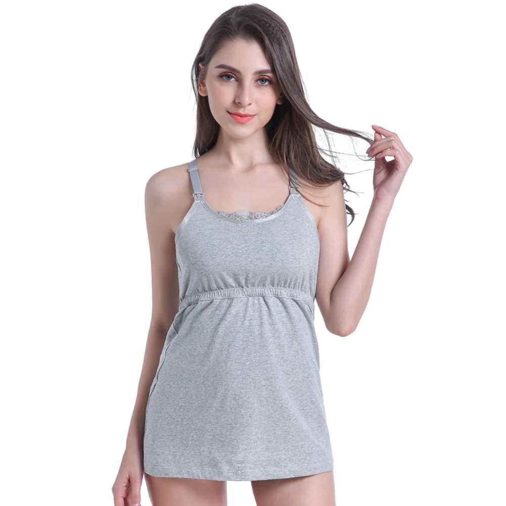 Solid Vest Breast Feeding Casual Maternity Daily พยาบาลชุดชั้นในปรับสายคล้องคอผู้หญิง Camisole ตั้งครรภ์ Tank Tops ไร้สาย
