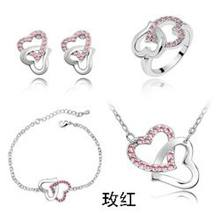 QiLeSen fashion 925 sterling silver 4 pieces heart to heart rose red boutique jewelry set free shipping s039(China)