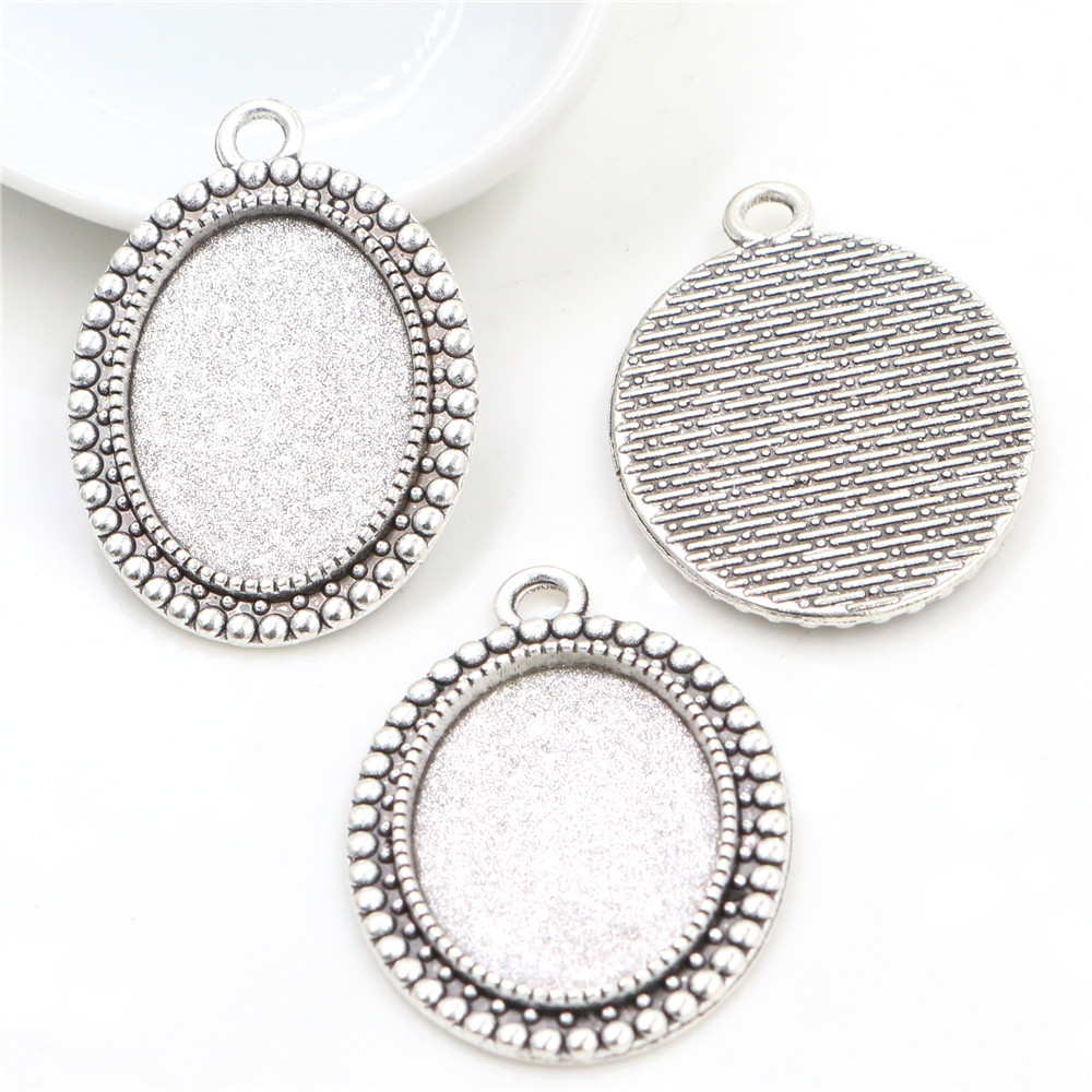 4pcs 18x25mm Inner Size Antique Silver Plated Flowers Style Cameo Cabochon Base Setting Pendant Necklace Findings  (C2-25)