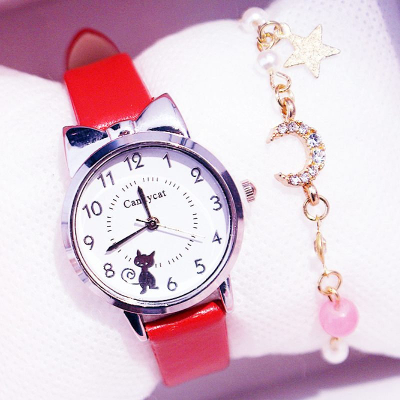 Girl Elementary School Student Fashion Watch Set Little Girl Cute Girl Watch Kids Watch Analog Children Quartz Electronic Watch