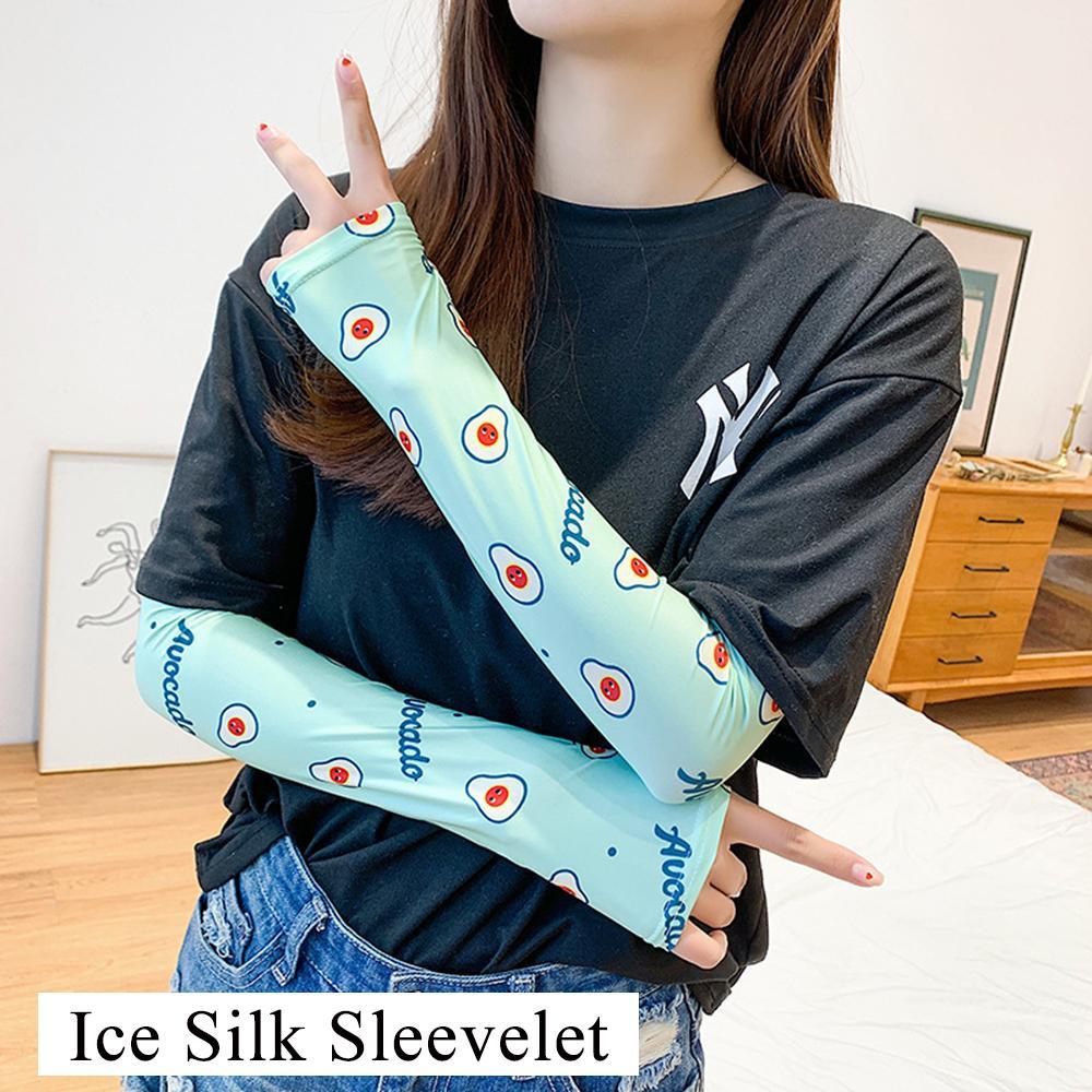 Summer Ice Silk Arm Sleeve Fruit Flowers Animal Print Sun Gloves Half Finger Fingerless Arm Warmers Sports Sunscreen Long Sleeve