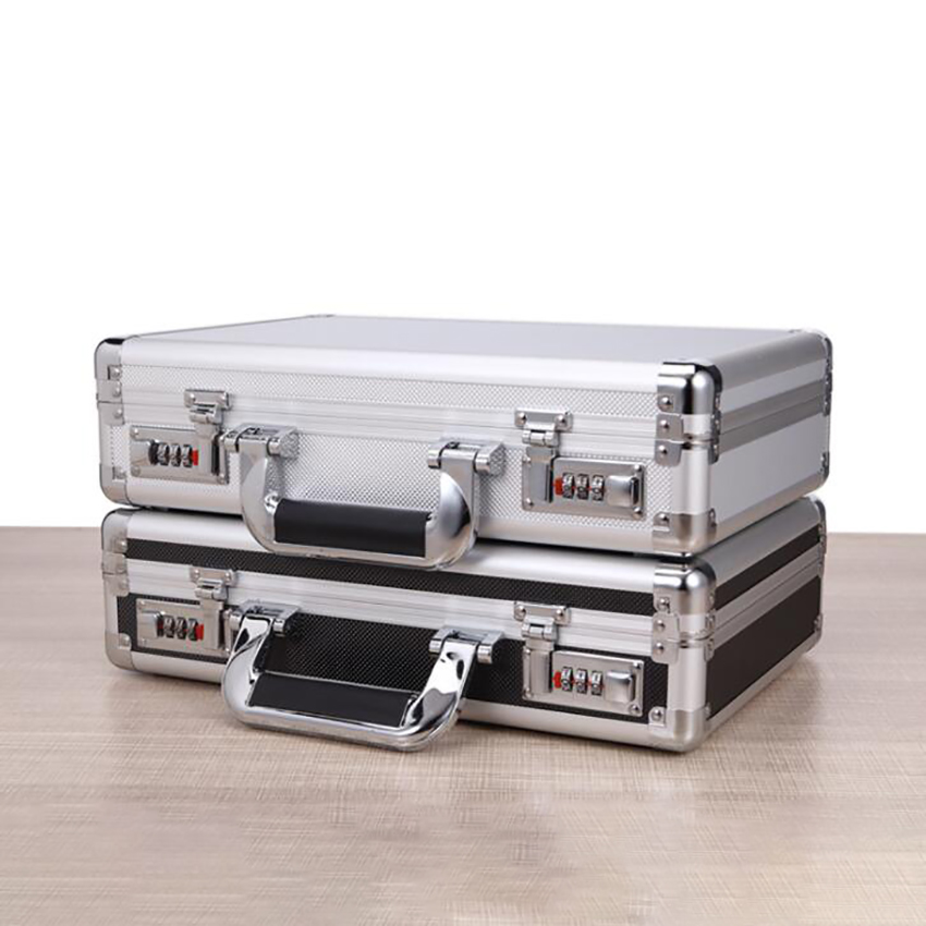 Portable Aluminum Hard Case Passwords ToolBox Black / Silver Briefcase Metal Carrying Case Equiment Tool Box Organizer Holder