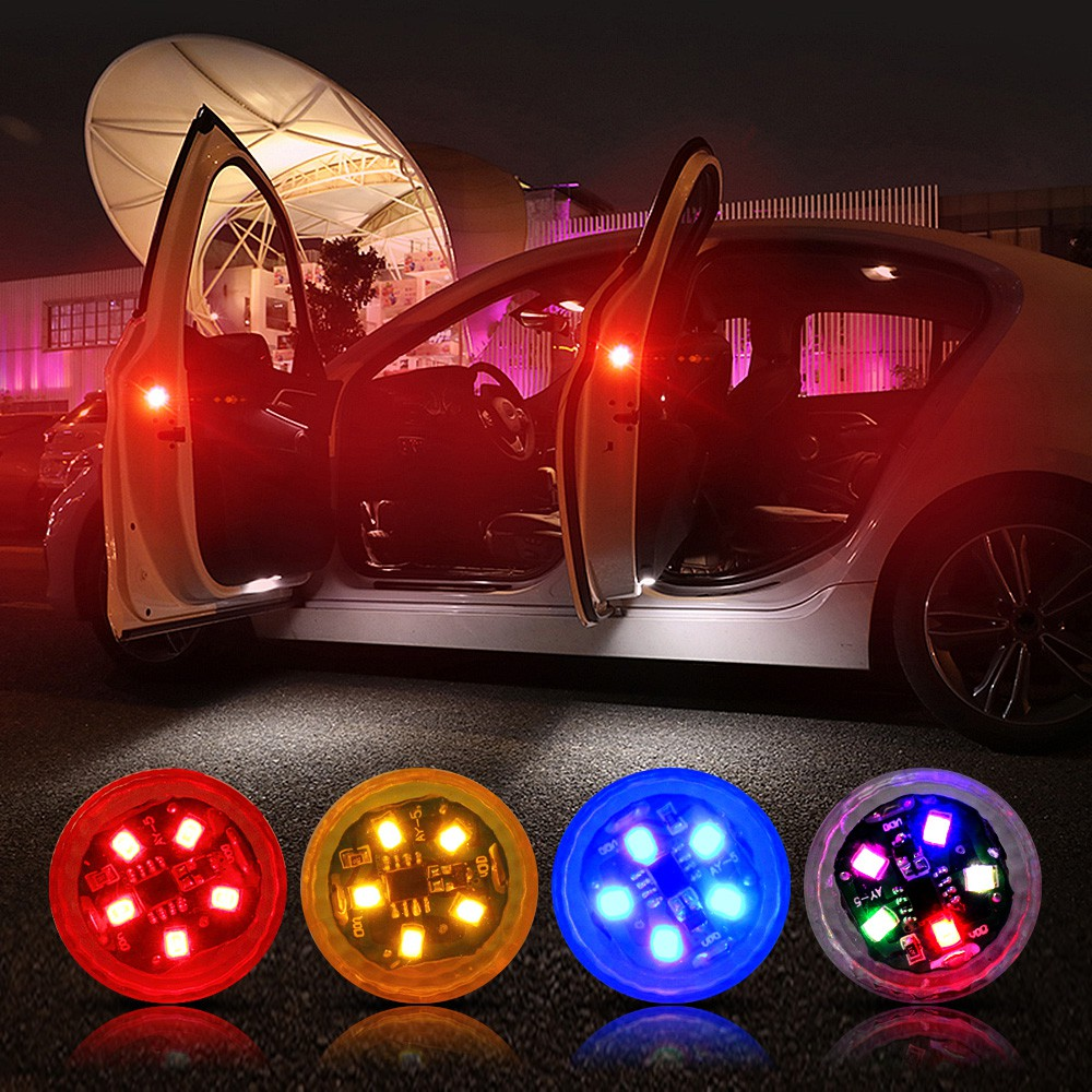 5 LEDs Car Door Opening Warning Lights Wireless Magnetic Design Strobe Flashing Anti Rear-end Collision Safety Lamps