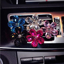 Automobile Air Conditioner Car Air Freshener Air Outlet Crystal Flower Decor Car Ornaments Car