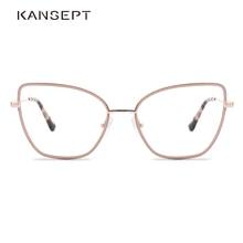معدن نظارات نسائية الإطار الوردي القط العين المرأة النظارات البصرية الإطار 2020 تصميم ماركة الموضة وصول جديدة عالية الجودة