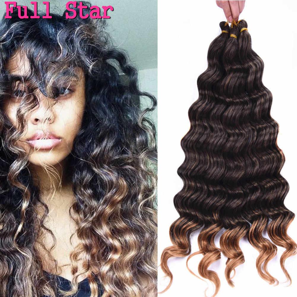 """Voller Stern 20 """"Tiefe welle Synthetische Haar Häkeln Zöpfe Schwarz Ombre Bug Blonde Farbe Haar 80g 1-6 pack Weave Haar Bundles"""