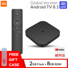 Original Xiao Mi Mi TV BOX S สมาร์ท 4K Ultra HD 2G 8G Android 8.1 WIFI GoogleCast netflix Media Player Set Top Box 3 ควบคุมเสียง(China)