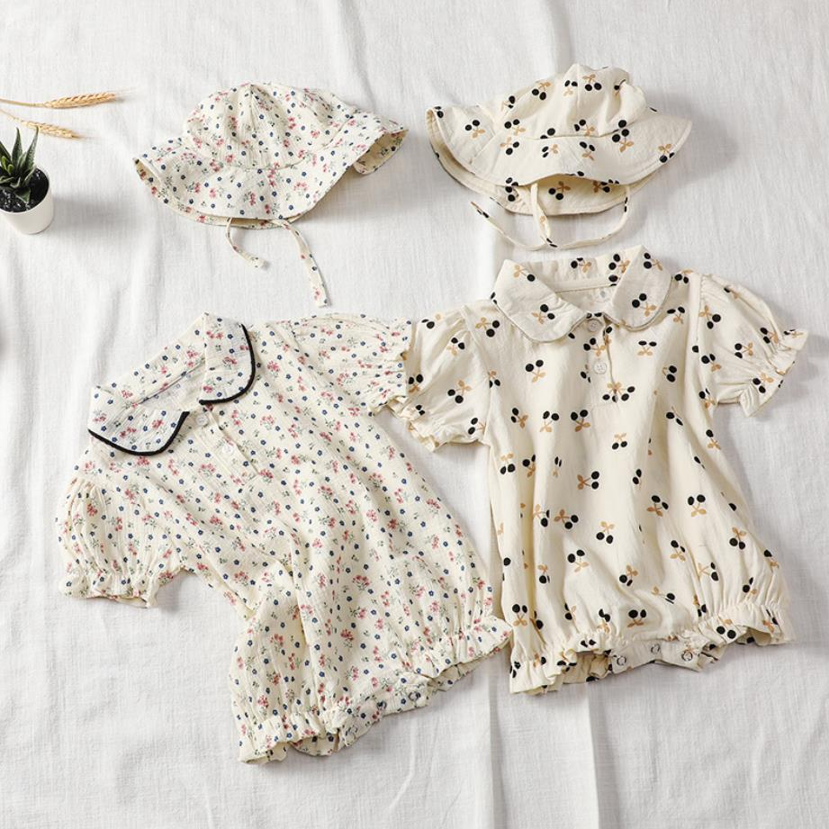 7plus1 Baby Girls Summer Floral Romper With Hat Toddler Cotton Flower Cheery Cute Fashion Girls Clothing Short Sleeve Jumpsuits