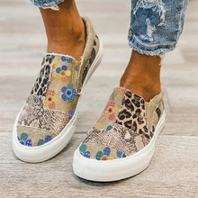 Spring Plus Size Women's Shoes Stitching Printed Flat Canvas Shoes