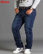 ฤดูใบไม้ผลิหลวมขนาดใหญ่กางเกงกางเกงสีดำPLUSขนาดXLยืดกางเกงยีนส์ชายฤดูร้อนบางส่วน 48 46 44 42 40 38