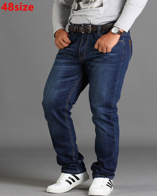 Spring season loose big size pants pants black plus size XL stretch jeans mens summer thin section 48 46 44 42 40 38