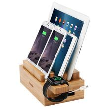 iCozzier Mini Bamboo Watch Stand Universal Multi-device Charging Station and Cord Organizer Stand Dock for Apple Watch, iPhone,