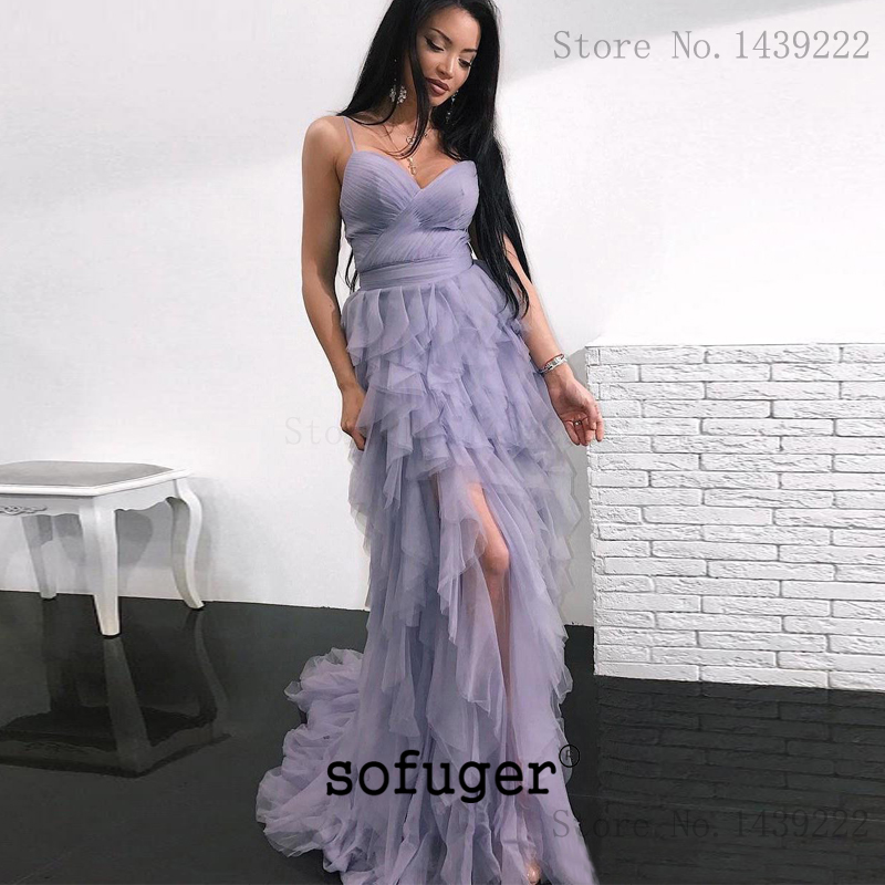 Lilac Prom Dresses High Low Spaghetti Straps Tulle Ruffles Party Long Prom Gown Evening Dresses Robe De Soiree