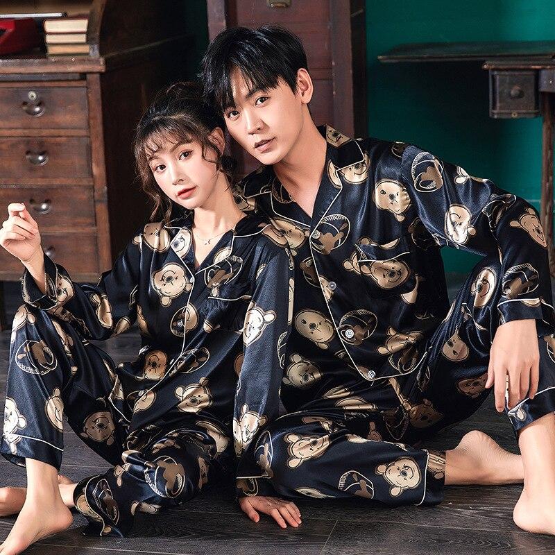 Lovers Pyjamas Women Full Sleeve Silk Satin Pajama Sets Cartoon Bear Couple Pajamas For Women Sleepwear Sets Pijama Mujer