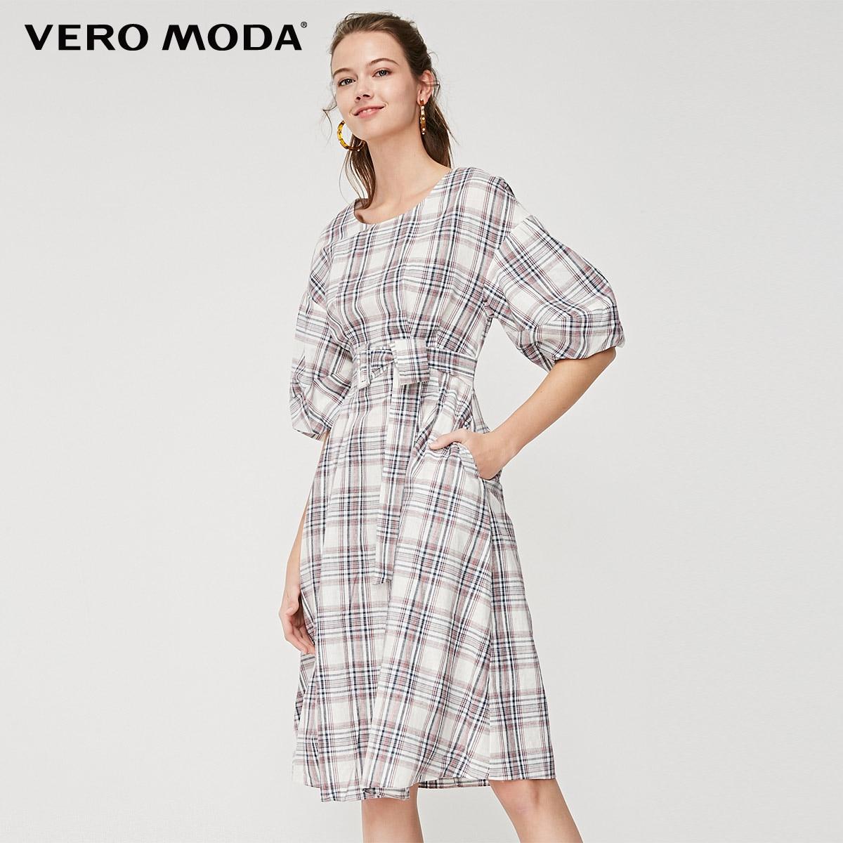 Vero Moda Women's Linen Plaid Fabric Lace-up Elbow Sleeves Dress   31916Z505