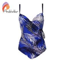 Print Swimsuit Women Monokini Drawstring Push-Up Andzhelika Plus-Size Sexy Beach Leaves