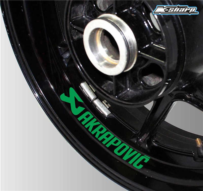 Nowa opona motocyklowa odblaskowa naklejka kreatywne koło obręcz naklejka z logo Moto dekoracyjne akcesoria do naklejek AKRAPOVIC
