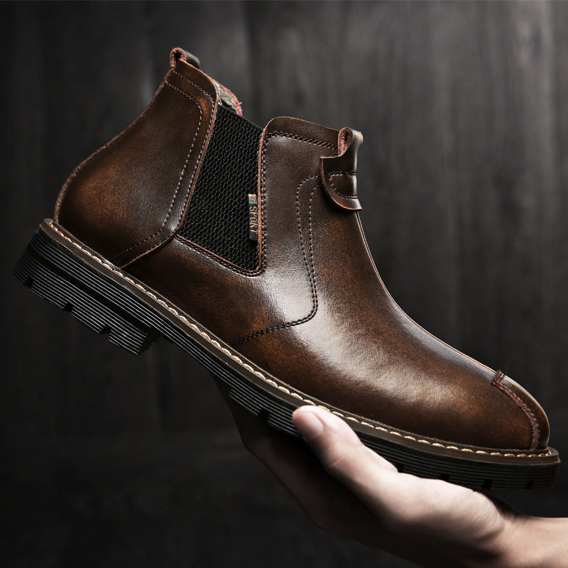 2019 Autumn Early Winter Shoes Men Boots Leather Chelsea Boots Thick Sole Men Brand Winter Footwear Male Ankle Boots KA1757