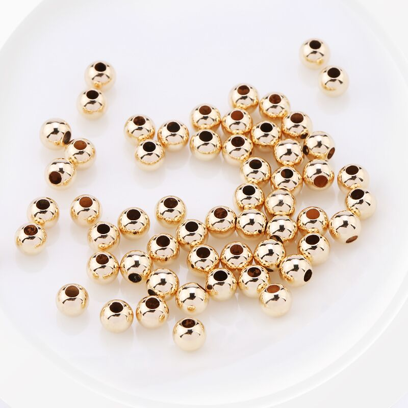 Wholesale 50PCS 2-4MM 14K Gold Beads Round Smooth Jewelry Beads For Bracelet&necklace Making 14K Gold Jewelry Findings
