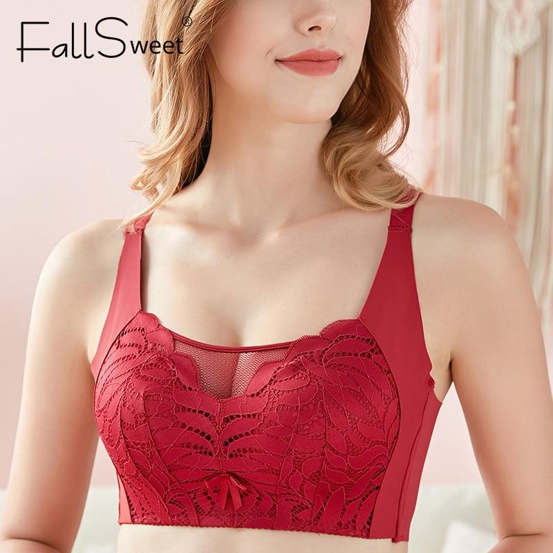 FallSweet tam kapsama sütyen hiçbir tel Push Up sütyen kadınlar için artı boyutu sütyen örgü