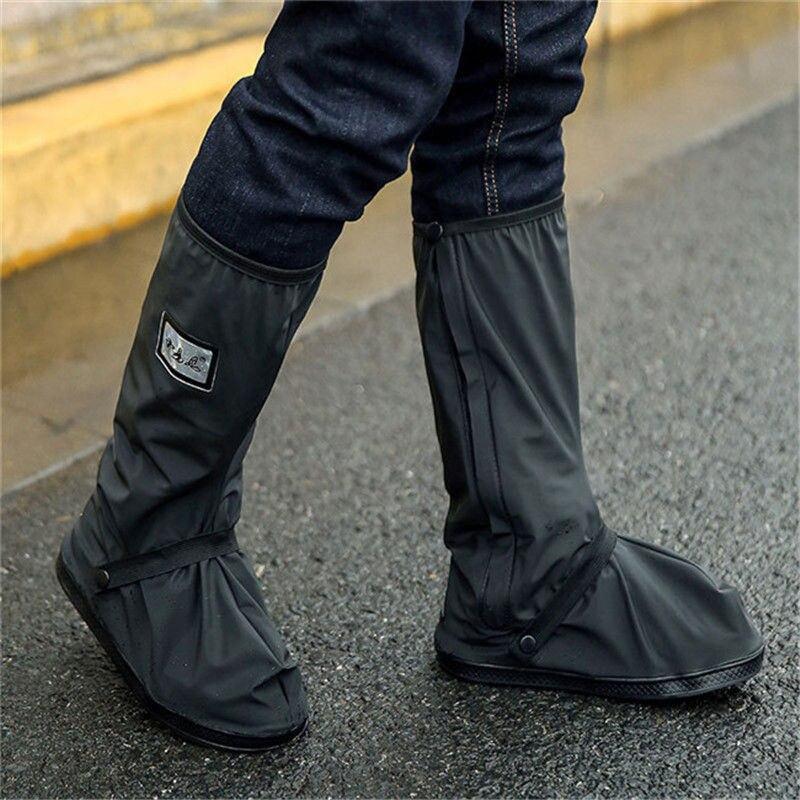 Rainproof Shoes Cover Waterproof Reusable Motorcycle Cycling Bike Thick Rain Boot Shoes Covers Rainproof Black Creative