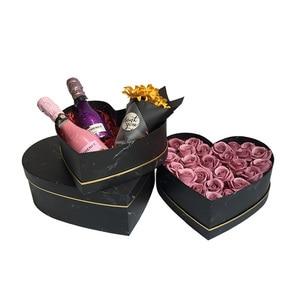 3 шт. набор бронзовых краев мраморная Цветочная коробка в форме сердца подарочная коробка из трех частей Свадебная праздничная подарочная к...