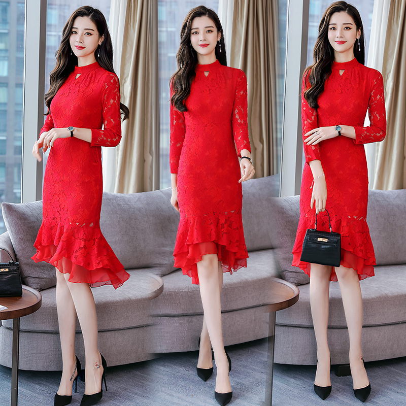 Autumn And Winter New Style Slim Fit Lace Mid-length Improved Cheongsam Marriage Bridesmaid Formal Dress Fishtail Dress Women's