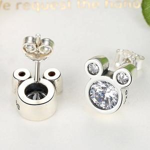Милые 925 пробы серебряные серьги-гвоздики с изображением Микки Мауса, ослепительные белые серьги с цирконием и изображением животных, лучши...