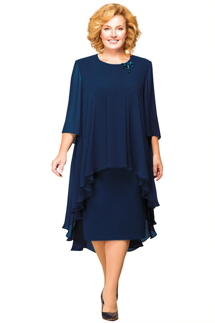 Plus Size Mother Of The Bride Dresses With Jacket Suit Half Sleeve 2019 Wedding Party Gown Two Piece Tea Length 5