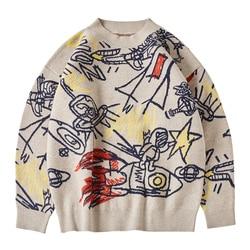 Harajuku surdimensionné pull pull hommes rue Graffiti tricoté pull Hip Hop Streetwear rétro 2020 automne hiver mâle pull