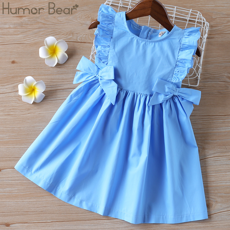 Humor Bear Baby Summer Dress 2020 Brand New Girls' Clothing Ruffle Sleevele Princess Frocks Big-bow Fashion Kids Baby Girl Dress
