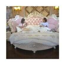 Купить роскошный классический набор мебели для гостиной из твердой древесины в античном стиле king size круглая кожаная кровать