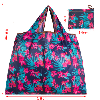 Big Size Thick Nylon Large Tote ECO Reusable Polyester Portable Shoulder Women's Handbags Folding Pouch Shopping Bag Foldable 2