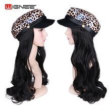 Wignee, леопардовая темно-синяя шляпа, синтетические волосы, парик, черные длинные волнистые волосы для наращивания, черные/белые женские натуральные поддельные волосы для ежедневного/Косплей