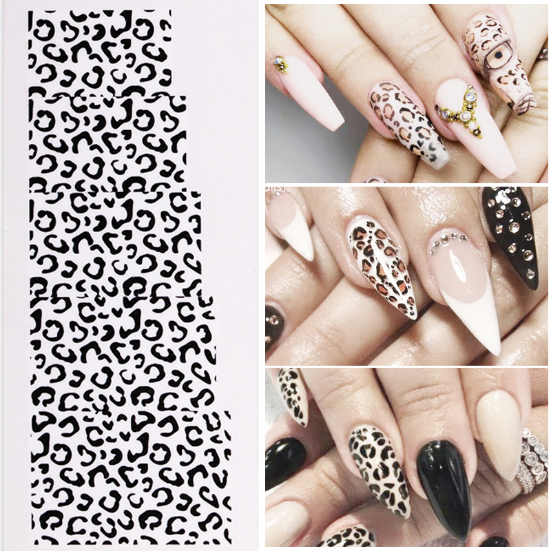 Leopard Nail Stickers Water Decals Transfer Sticker Nails Accessories Black White Nail Sticker Paper Nail Decorations DIY