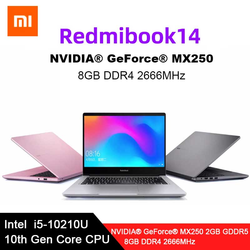 Original Xiaomi RedmiBook 14 Enhanced 14 Inch Laptop I5-10210U MX250 8GB DDR4 1TB/512GB SSD Student Portable Notebook