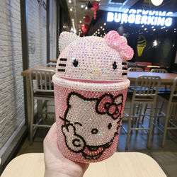 Handmade Rhinestone miniaturowy kosz na śmieci Helloo Kitty samochodowy kosz na śmieci kosz na śmieci śliczny różowy KT kot kosze na śmieci Mini wiadro kosz do przechowywania w Kosze na śmieci od Dom i ogród na